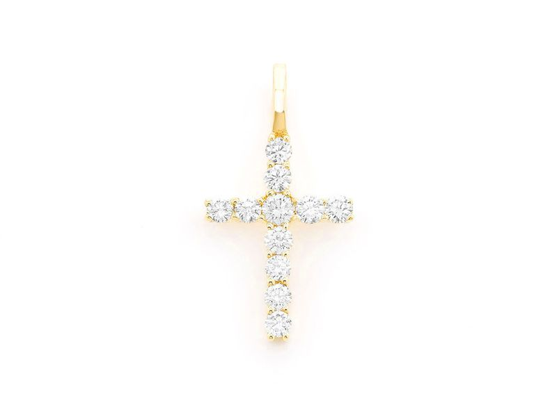 1 Row Cross Pendant 14K   0.25ctw