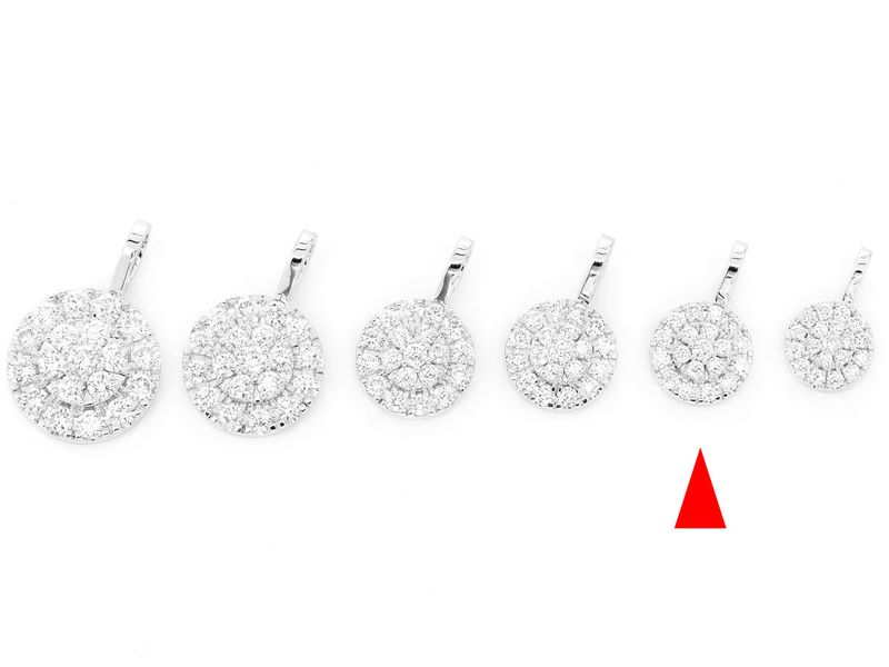 Two Tier Round Diamond Pendant 14K   0.73ctw