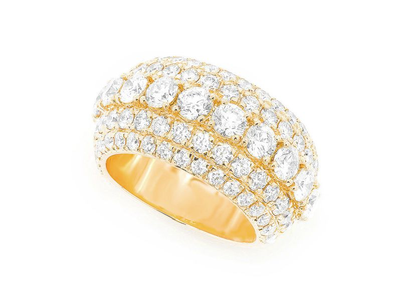 Five Row Ring 14K   5.34ctw