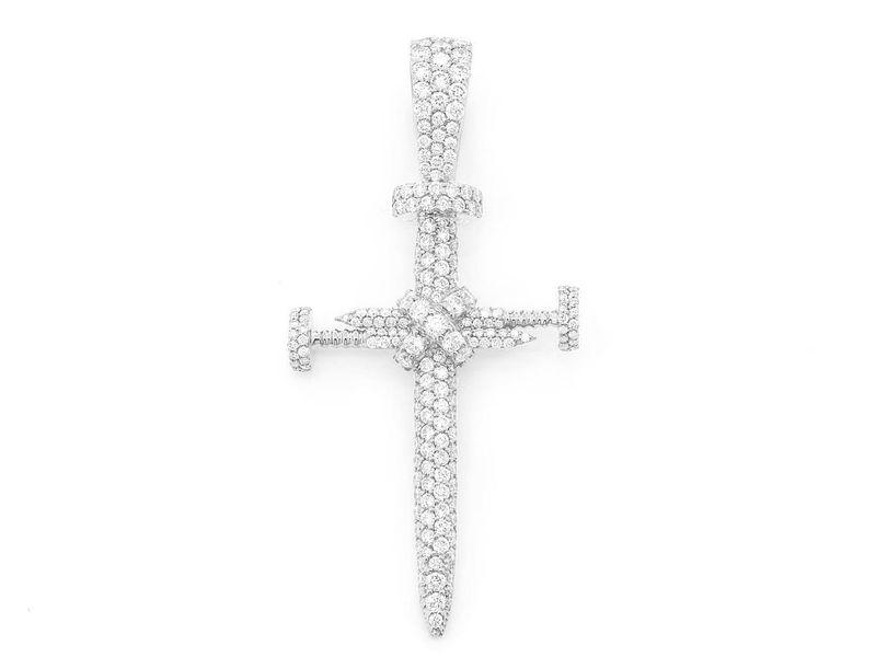 Nail Cross Pendant 14K   2.52ctw