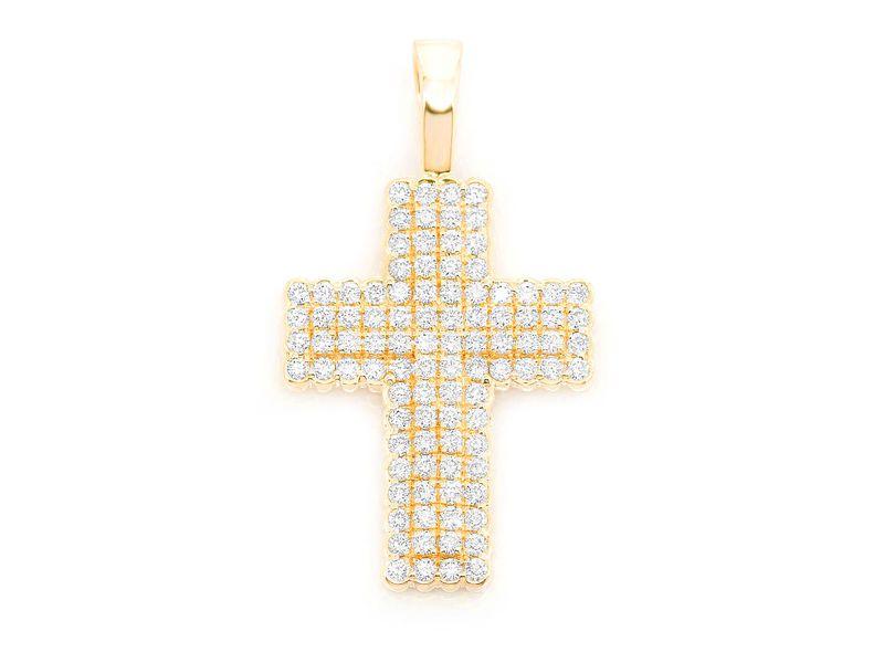 Half Bezel Cross Pendant 14K   0.90ctw