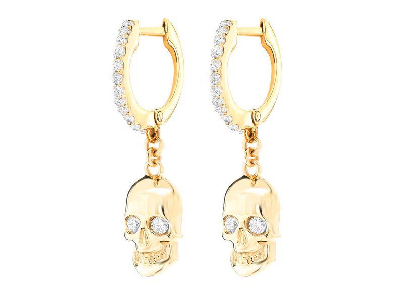 Skull Huggie Dangling Earrings 14K   0.30ctw