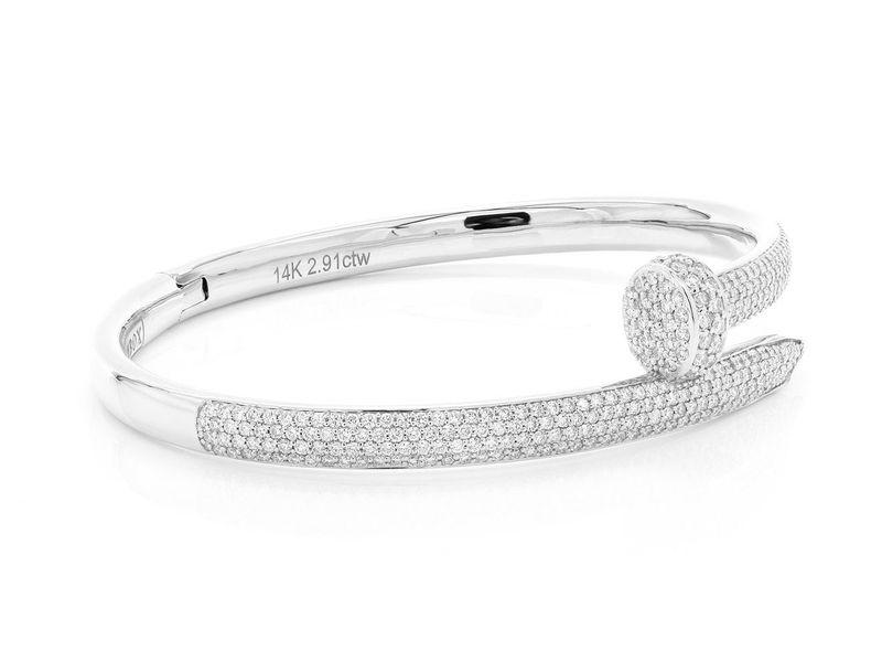 Large Nail Bangle Half Diamond Bracelet 14K   2.91ctw