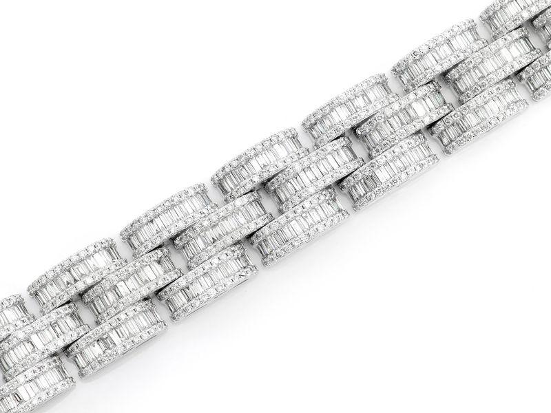 Baguette & Round Link Bracelet 14K   17.50ctw