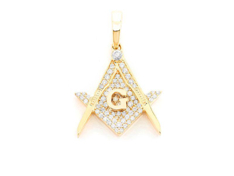 Masonic Symbol G Pendant 14K   0.45ctw