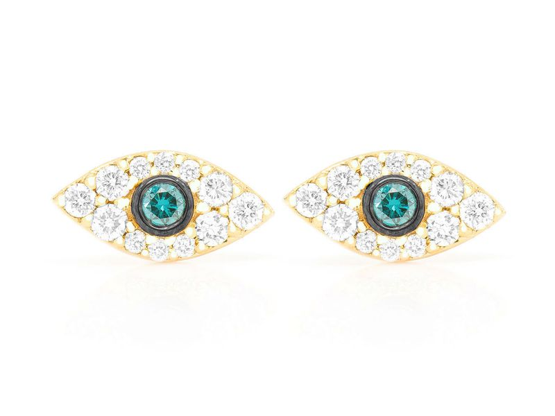 Mini Evil Eye Earrings 14K   0.20ctw