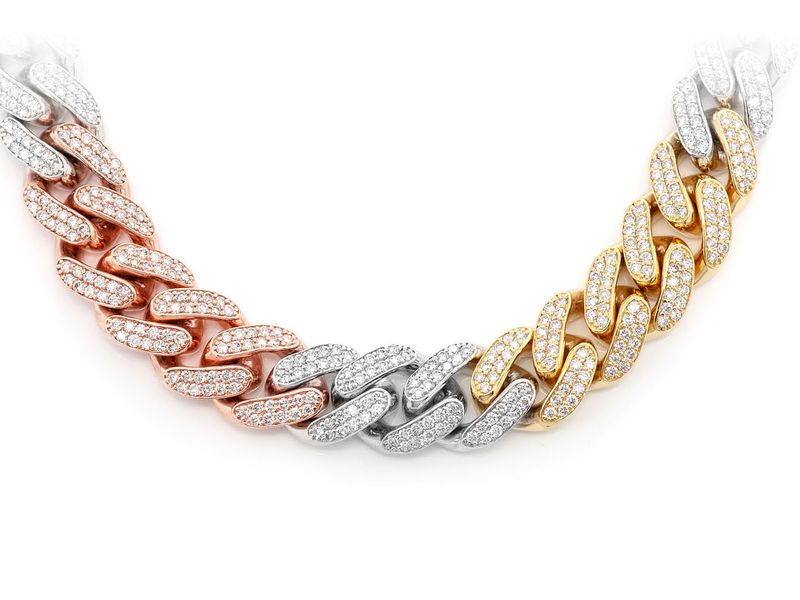 12mm Diamond Miami Cuban Necklace 14K   17.28ctw