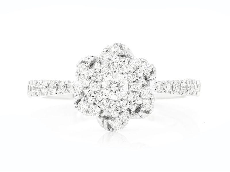 Single Band Three Layer Flower Engagement Ring 14K   0.48ctw