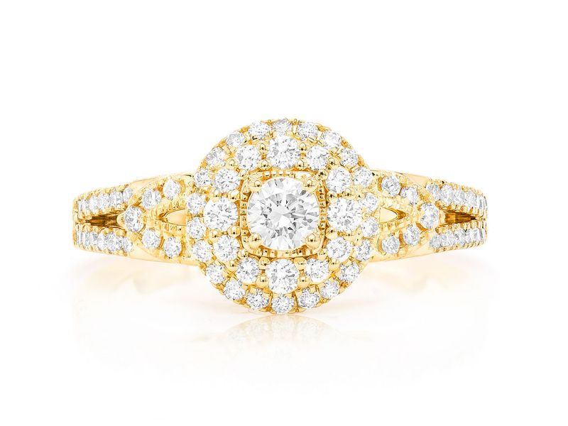 Round Two Tier Halo W/ Fancy Shank  Ring 14K   0.73ctw