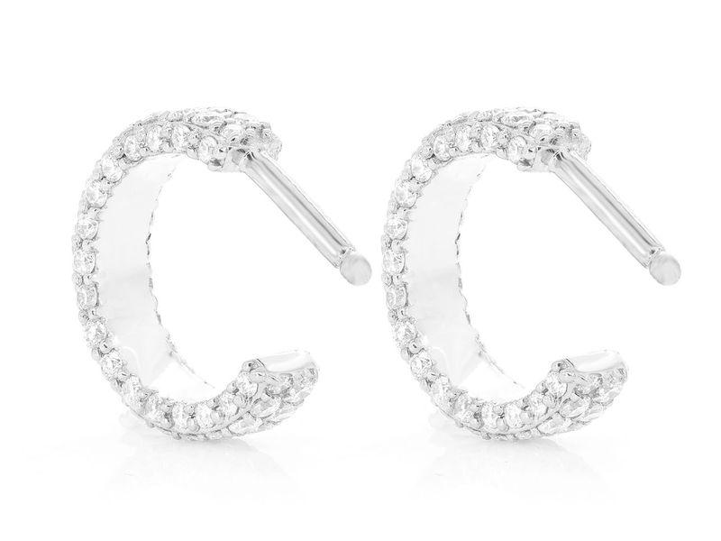 Side Diamond Hoop Earrings 14K   0.63ctw