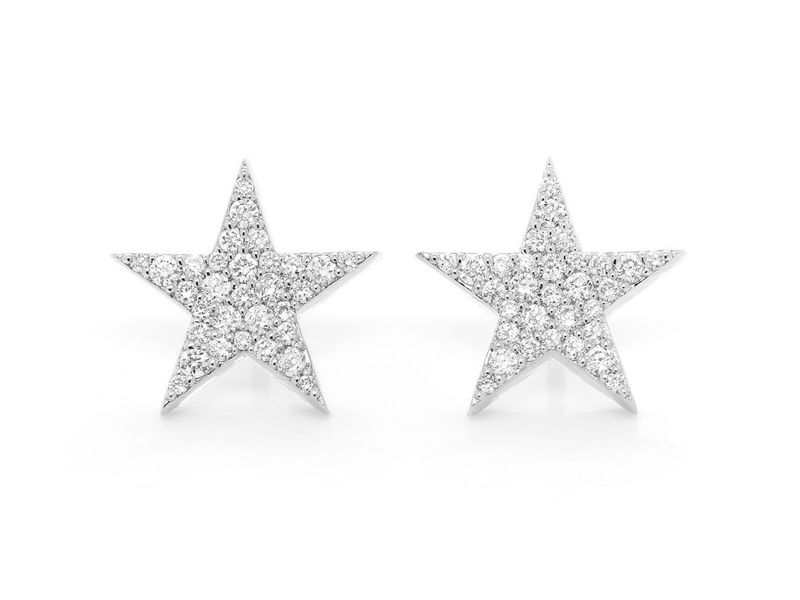 5 Point Star Screw Back Stud Earrings 14K   0.40ctw