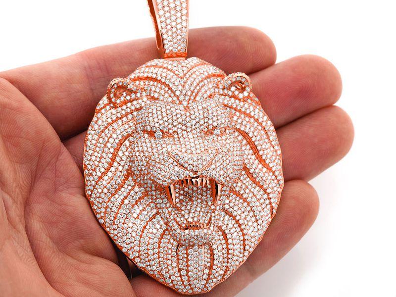 Roaring Lion Pendant 14K   15.10ctw
