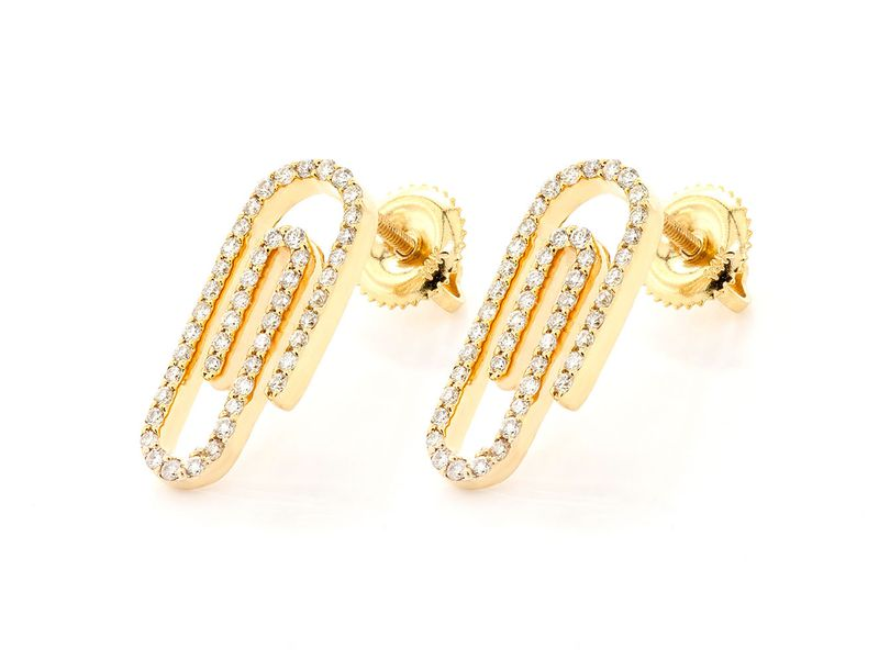 Small Paper Clip Earrings 14K   0.46ctw