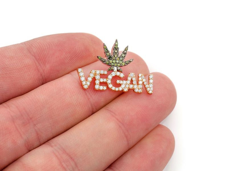 Vegan Pendant 14K  0.62ctw