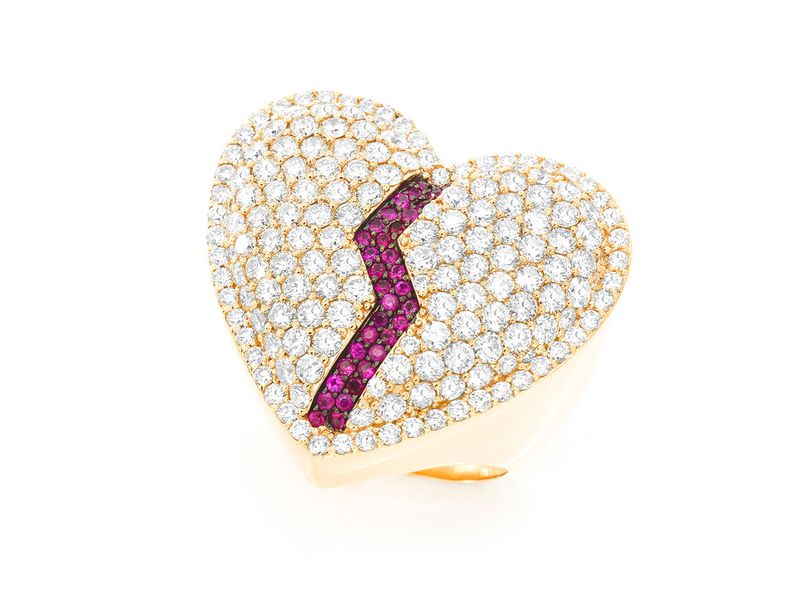 Broken Heart Signet Ring 14K   5.00ctw