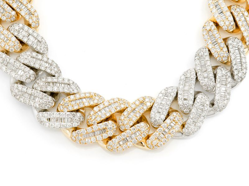 Baguette Cuban Necklace 14k   54.25ctw