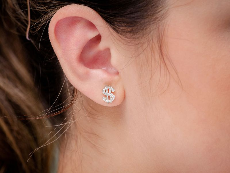 Dollar Sign Earrings 14K   0.35ctw
