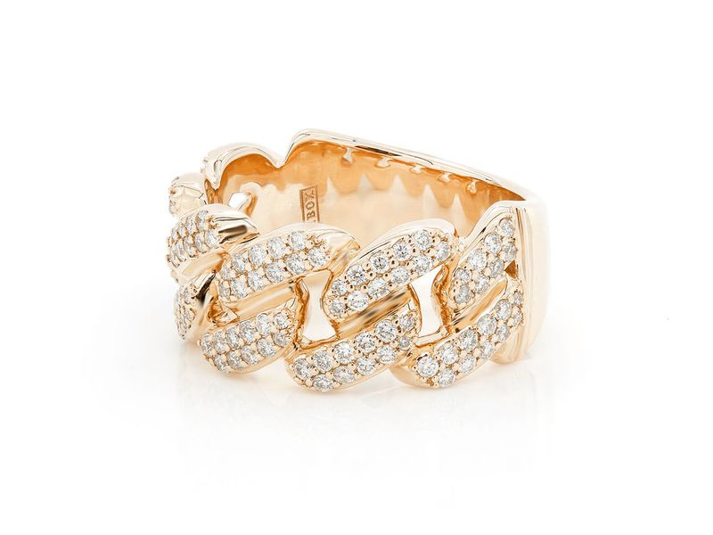 Cuban Ring 14K   0.87ctw