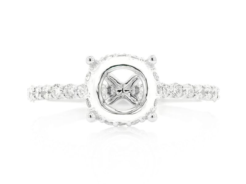 Round Under Halo Diamond Semi Mount Ring 18K   0.53ctw