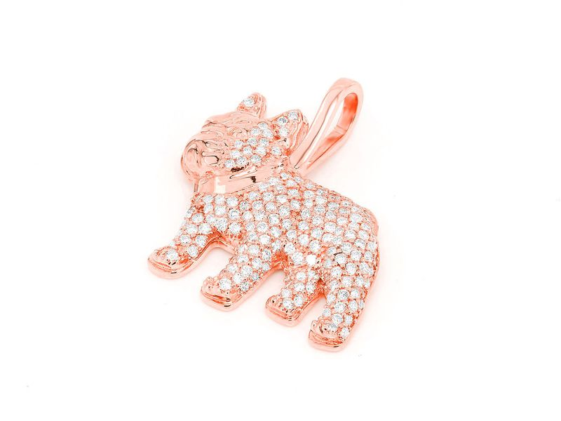 French Bulldog Pendant 14K   0.57ctw