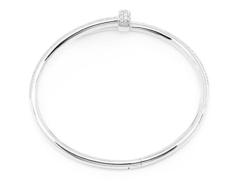 Extra Large Nail Bangle Half Diamond Bracelet 14K   3.50ctw