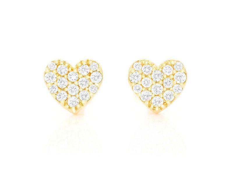 Mini Diamond Stud Heart Earrings 14K   0.23ctw