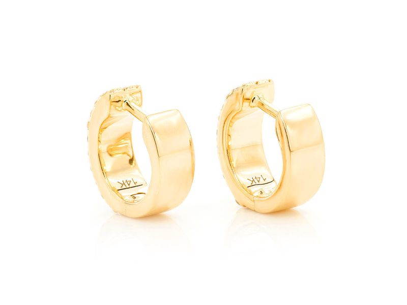 3 Row Huggie Hoop Earrings 14K   0.25ctw