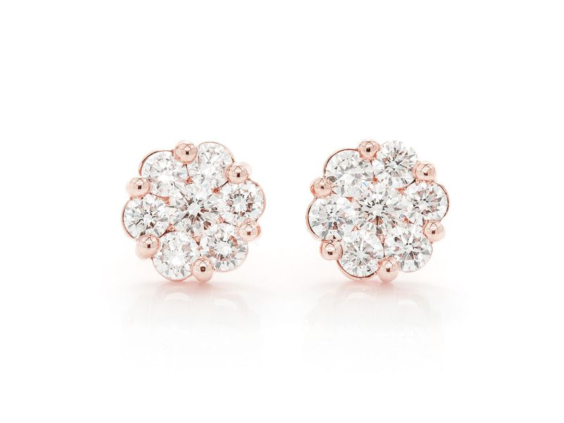 Round Flower Stud Earrings 14K   2.00ctw