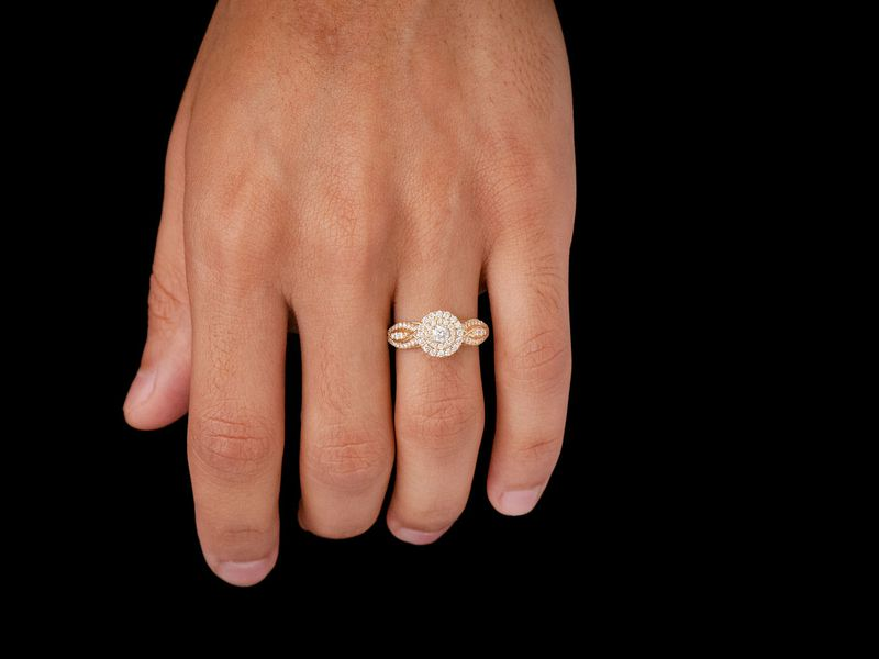 Round Double Halo W/ Fancy Shank Ring 14K   0.73ctw
