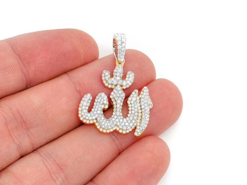 Stepped Allah Symbol Pendant 14K   1.64ctw