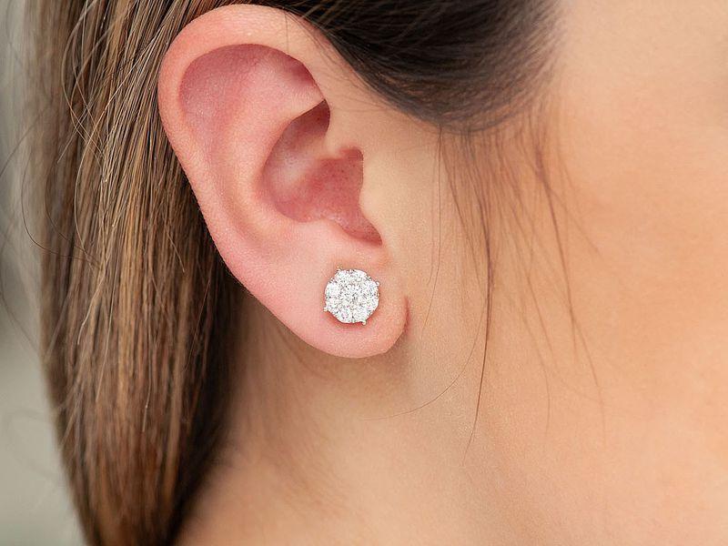 Diamond Comp Stud Earrings 14K   1.50ctw