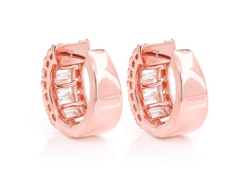 Baguette Round Huggie Hoop Earrings 14K   2.00ctw