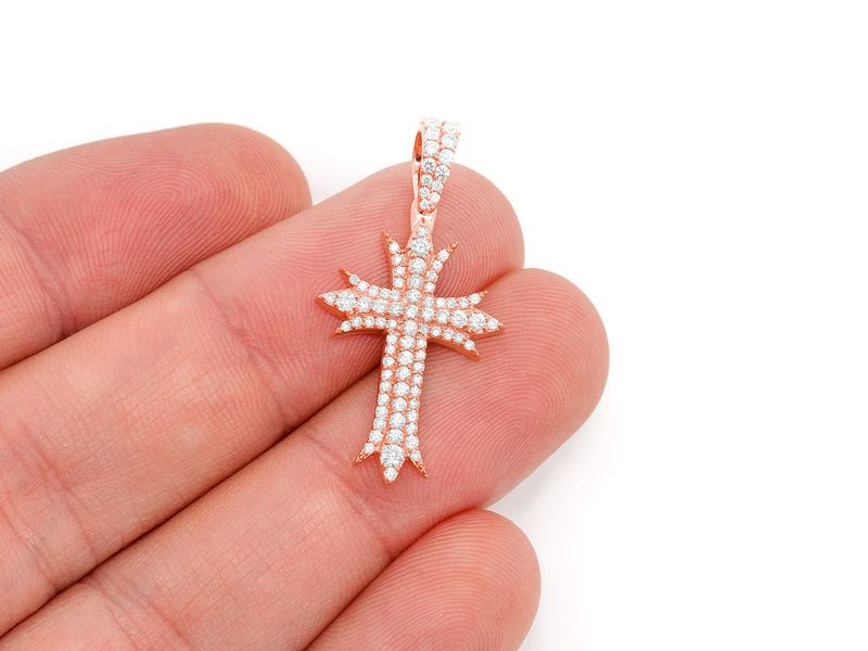 Deco Three Row Cross Pendant 14K   0.67ctw