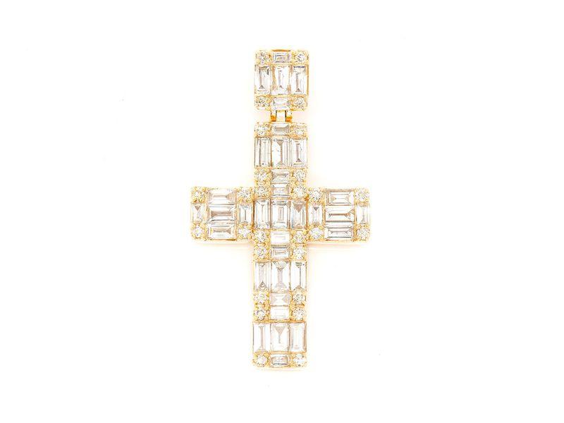 Baguette Cross  Pendant 14K   1.80ctw