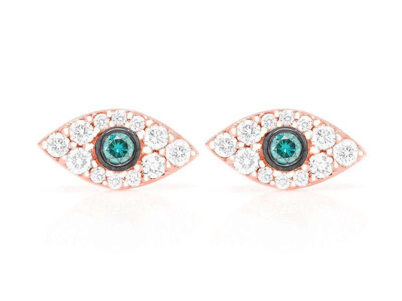 Mini Evil Eye Earrings 14K   0.20ctw