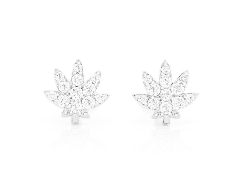 Mini Weed Leaf Earrings 14K   0.09ctw