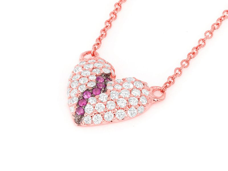 Broken Heart Mica Collection Pendant 14K   0.36ctw