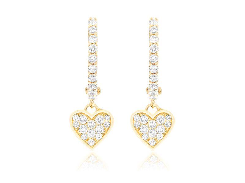 Heart Huggie Hoop Earrings 14K   0.40ctw