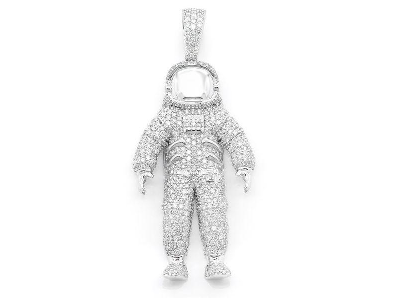 Astronaut Pendant 14K   4.22ctw
