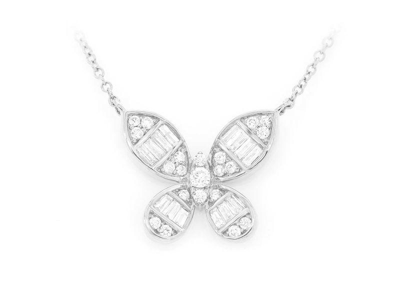 Prima Butterfly Baguette Mica  Pendant 14K   0.32ctw