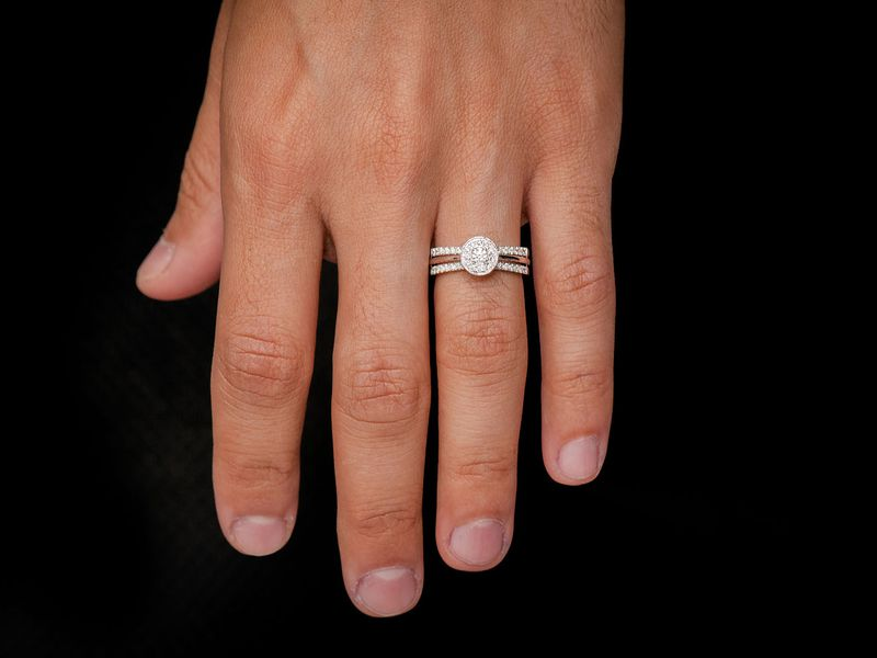 Double Band Round Halo Engagement Ring 14K   0.46ctw