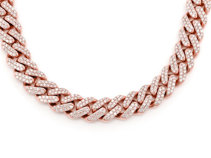 10mm Diamond Miami Cuban Necklace 14K   17.65ctw