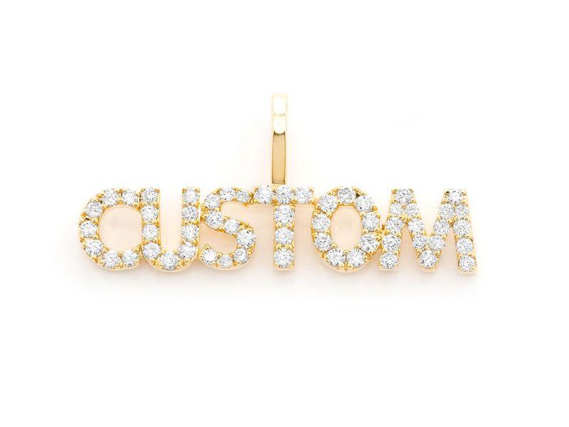 Custom Letter Pendant 14K   0.11ctw