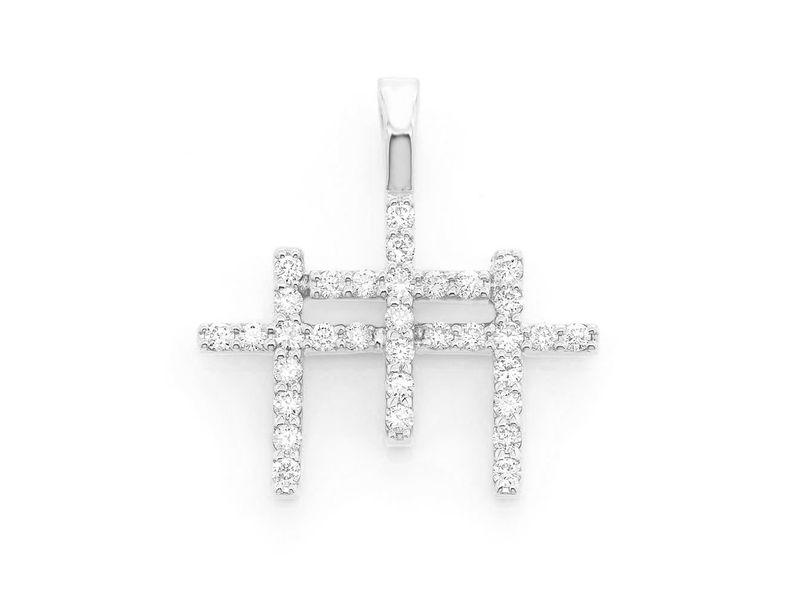 Triple Cross Pendant 14K   0.45ctw
