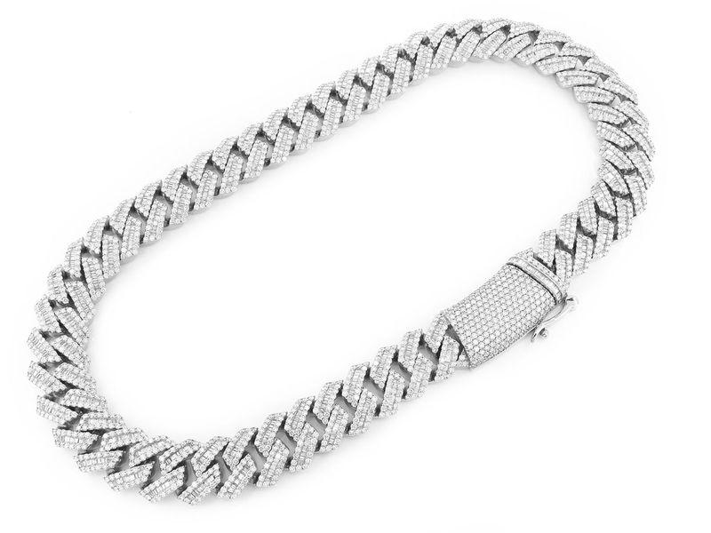 Baguette Cuban Necklace 14K   59.50ctw