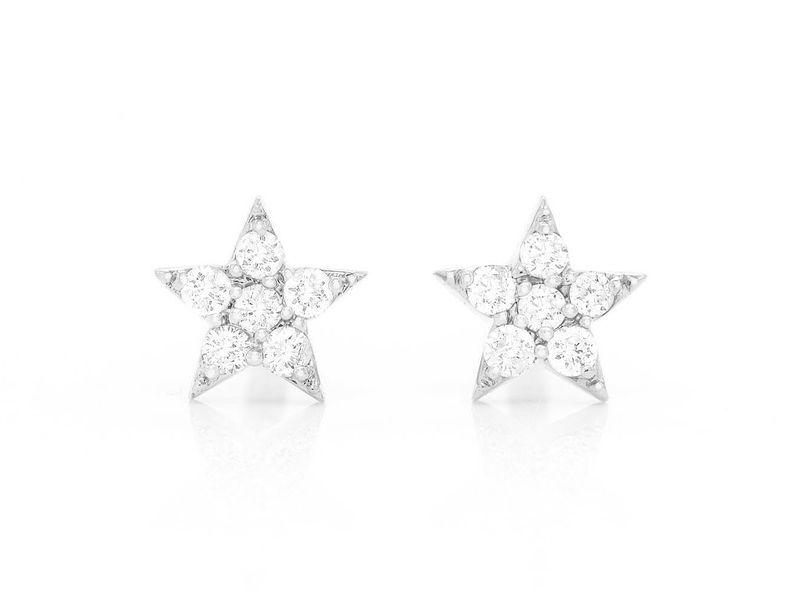 Five Point Star Earrings 14K   0.06ctw