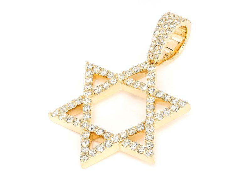 Weaved Star Of David Pendant 14K   1.90ctw