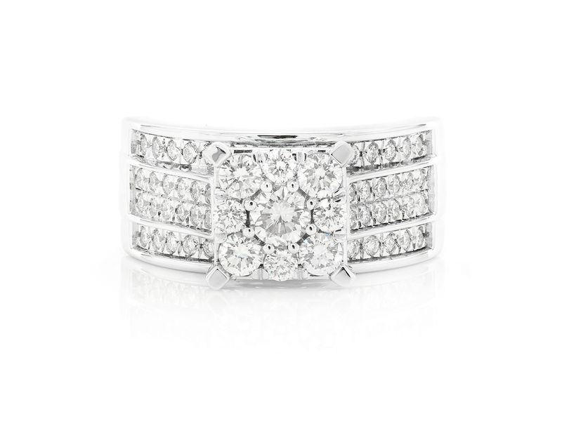 Round Halo Cluster Engagement Ring 18K   1.21ctw