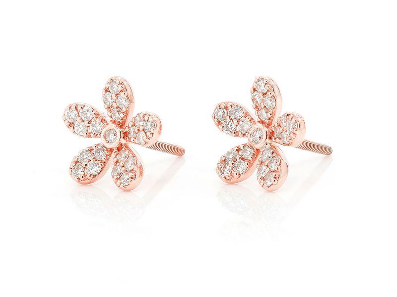 Flower Stud Earrings 14K   0.35ctw