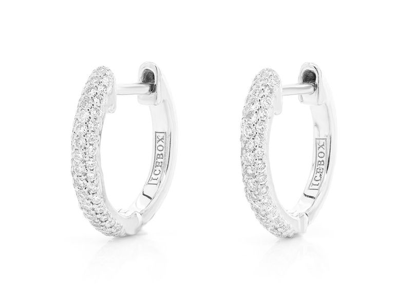 3 Row Bubbly Hoop Earrings 14K   0.20ctw